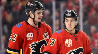 Sean Monahan, Johnny Gaudreau are posing for a picture